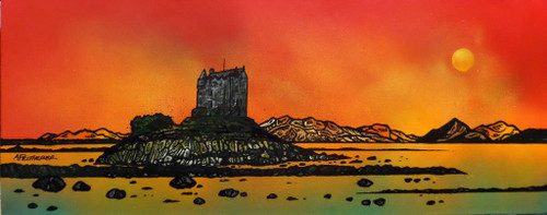 Castle Stalker Sunset, Appin, Scottish Highlands - A landscape by Scottish artist Andy Peutherer  (Open Edition Print )