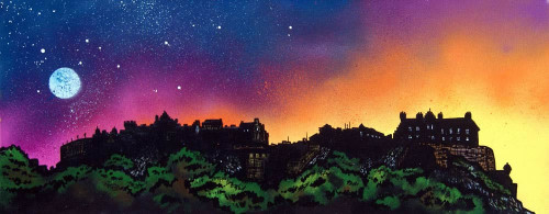 Edinburgh Castle Dusk, Scotland - A landscape by Scottish artist Andy Peutherer  (Open Edition Print )