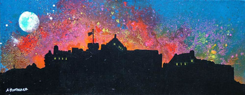 Edinburgh Castle Fireworks, New Year, Scotland - A landscape by Scottish artist Andy Peutherer  (Open Edition Print )