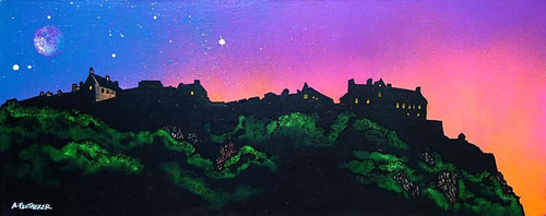 Edinburgh Castle Sunset, Scotland - A landscape by Scottish artist Andy Peutherer  (Open Edition Print )