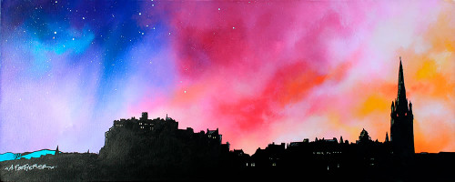 Edinburgh City Skyline at Sunset, Scotland - A landscape by Scottish artist Andy Peutherer  (Open Edition Print )