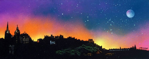 Edinburgh Skyline Dusk, Scotland - A landscape by Scottish artist Andy Peutherer  (Open Edition Print )