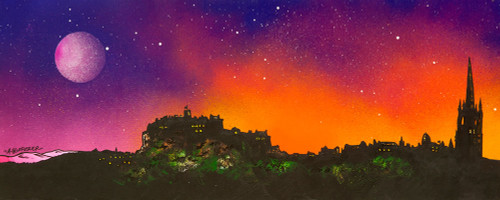 Full Moon At Sunset Over Edinburgh, Scotland - A landscape by Scottish artist Andy Peutherer  (Open Edition Print )