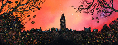 Glasgow University Autumn Dusk, Kelvingrove, Scotland - A landscape by Scottish artist Andy Peutherer  (Open Edition Print )
