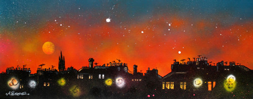 Glasgow Westend Tenements, University Dusk, Scotland - A landscape by Scottish artist Andy Peutherer  (Open Edition Print )