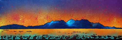 Isle Of Arran Sunset From Portencross, Ayrshire, Scotland - A landscape by Scottish artist Andy Peutherer  (Open Edition Print )