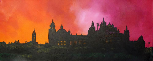 Kelvingrove Museum and Glasgow University Sunset, Scotland - A landscape by Scottish artist Andy Peutherer  (Open Edition Print )