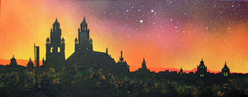 Kelvingrove Museum Sunset, Glasgow, Scotland - A landscape by Scottish artist Andy Peutherer  (Open Edition Print )