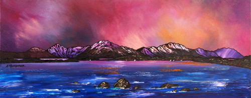 Loch Lomond Dusk From Near Balmaha, Trossachs, Scotland - A landscape by Scottish artist Andy Peutherer  (Open Edition Print )