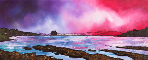 Lochranza Castle Dusk, Loch Ranza, Isle Of Arran, Scotland - A landscape by Scottish artist Andy Peutherer  (Open Edition Print )