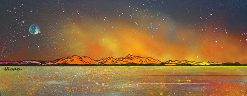 Milky way Over Arran From Largs, Ayrshire, Scotland - A landscape by Scottish artist Andy Peutherer  (Open Edition Print )
