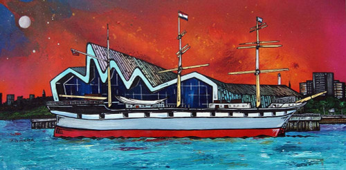 Riverside Museum and The Glenlee Sunset, Glasgow, Scotland - A landscape by Scottish artist Andy Peutherer  (Open Edition Print )