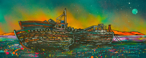 Salen Boat Wrecks Dusk, Isle Of Mull, Hebrides, Scotland - A landscape by Scottish artist Andy Peutherer  (Open Edition Print )