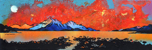 Skye Sunset from Raasay, Scottish Inner Hebrides - A landscape by Scottish artist Andy Peutherer  (Open Edition Print )