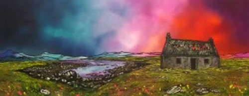 South Uist Croft Sunset, Hebrides, Scotland - A landscape by Scottish artist Andy Peutherer  (Open Edition Print )