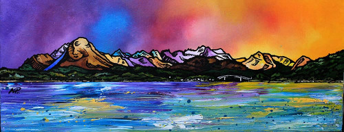 The Isle Of Skye From Balmacara, Loch Alsh, Scottish Highlands - A landscape by Scottish artist Andy Peutherer  (Open Edition Print )