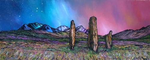 The Machrie Moor Standing Stones, Early Spring, Isle of Arran, Ayrshire, Scotland - A landscape by Scottish artist Andy Peutherer  (Open Edition Print )