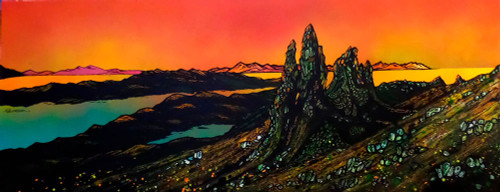 The Old Man of Storr, Sunset, Towards Rassay, Trotternish Peninsula, Hebrides, Scotland - A landscape by Scottish artist Andy Peutherer  (Open Edition Print )