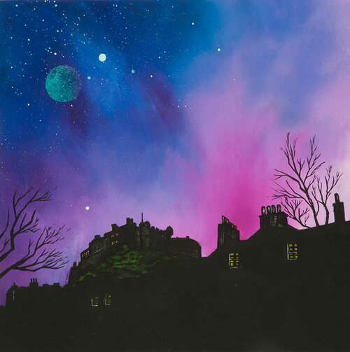Edinburgh Castle dusk From The Grass Market, Edinburgh, Scotland - A landscape by Scottish artist Andy Peutherer  (Open Edition Print )