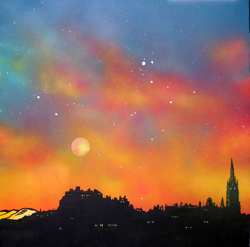 Edinburgh Summer Haze, Scotland - A landscape by Scottish artist Andy Peutherer  (Open Edition Print )