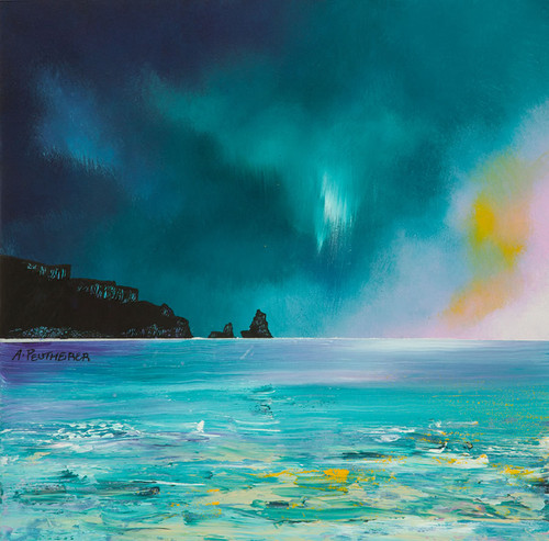 Isle of Skye, Storm Approaching Talisker Bay, Scotland - A landscape by Scottish artist Andy Peutherer  (Open Edition Print )
