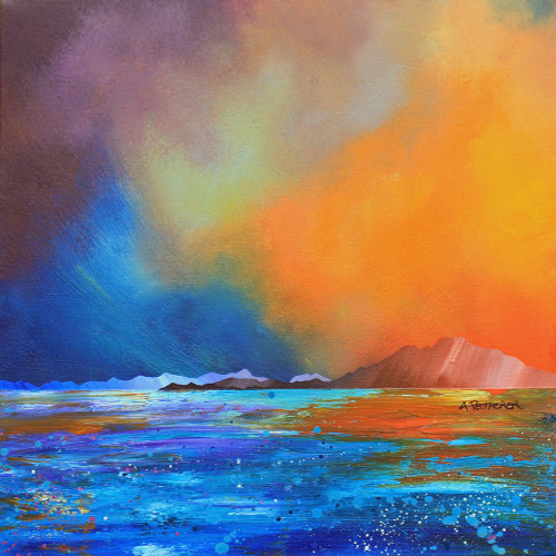 Stormy Sunset over Broadford Bay, Isle of Skye, Inner Hebrides, Scotland - A landscape by Scottish artist Andy Peutherer  (Open Edition Print )