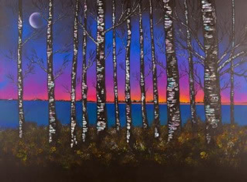 Loch Lomond Dusk Through The Birch Woods, Scotland - A landscape by Scottish artist Andy Peutherer  (Open Edition Print )
