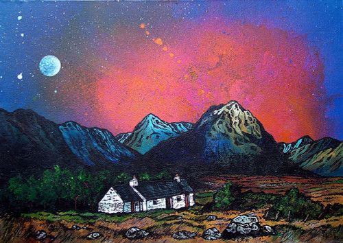 Black Rock Cottage and The Buachaille, Glencoe, Rannoch Mor, Scottish Western Highlands - A landscape by Scottish artist Andy Peutherer  (Open Edition Print )
