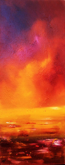 Loch Ness, Magenta Sunset, Highlands, Scotland - A landscape by Scottish artist Andy Peutherer  (Open Edition Print )