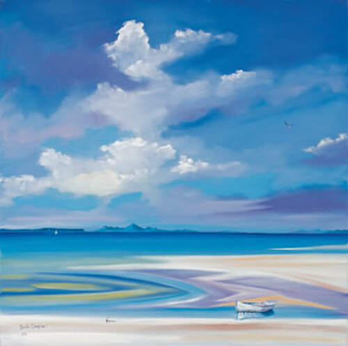 Silver Sands, Eigg and Rum is an Open Edition landscape print  by Scottish artist Daniel Campbell