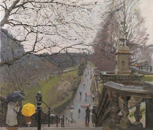 Spring Morning Princes Street Gardens by Peter Brown