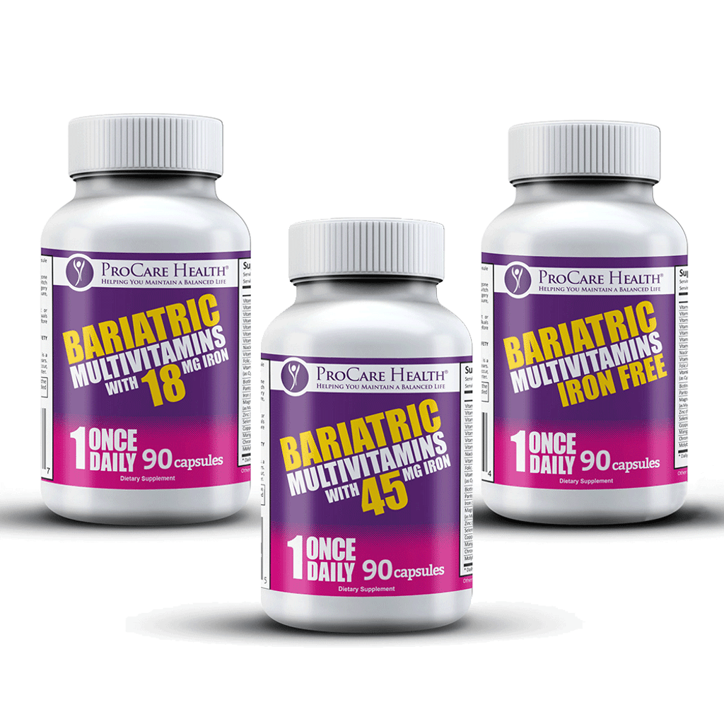 Convenient Once Daily Bariatric Multivitamin Capsule. Available in three levels of iron; 45mg, 18mg and Iron Free.