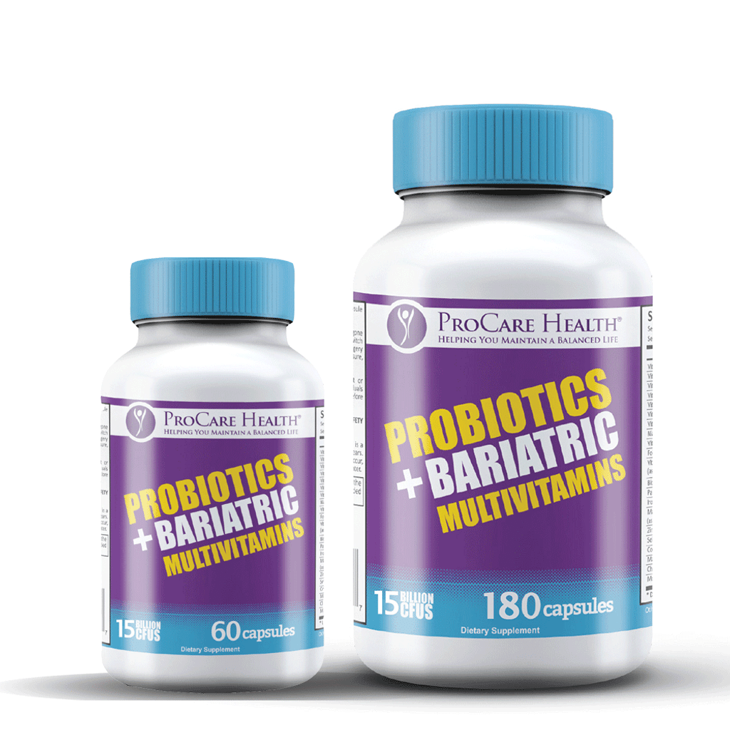 ProCare Health's proven Bariatric Multivitamin formula includes 15 billion CFU of probiotics available in 60 count and 180 count bottles- specifically designed for those that have undergone bariatric surgery!