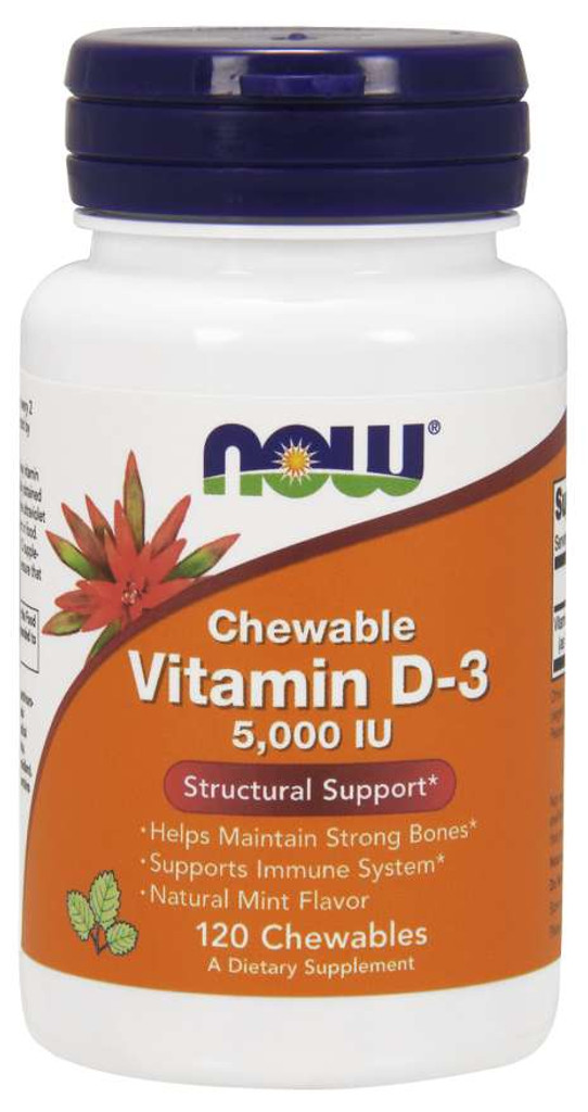 Now Foods | Vitamin D-3 5,000 IU | Natural Mint Flavor | Chewable