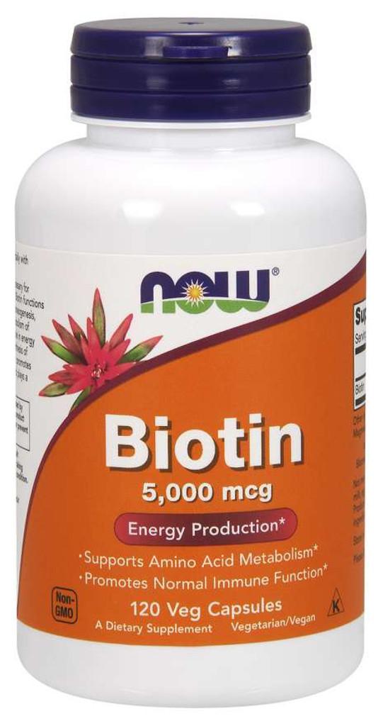 Now Foods l Biotin 5,000 mcg l Veg Capsule l 120 Count