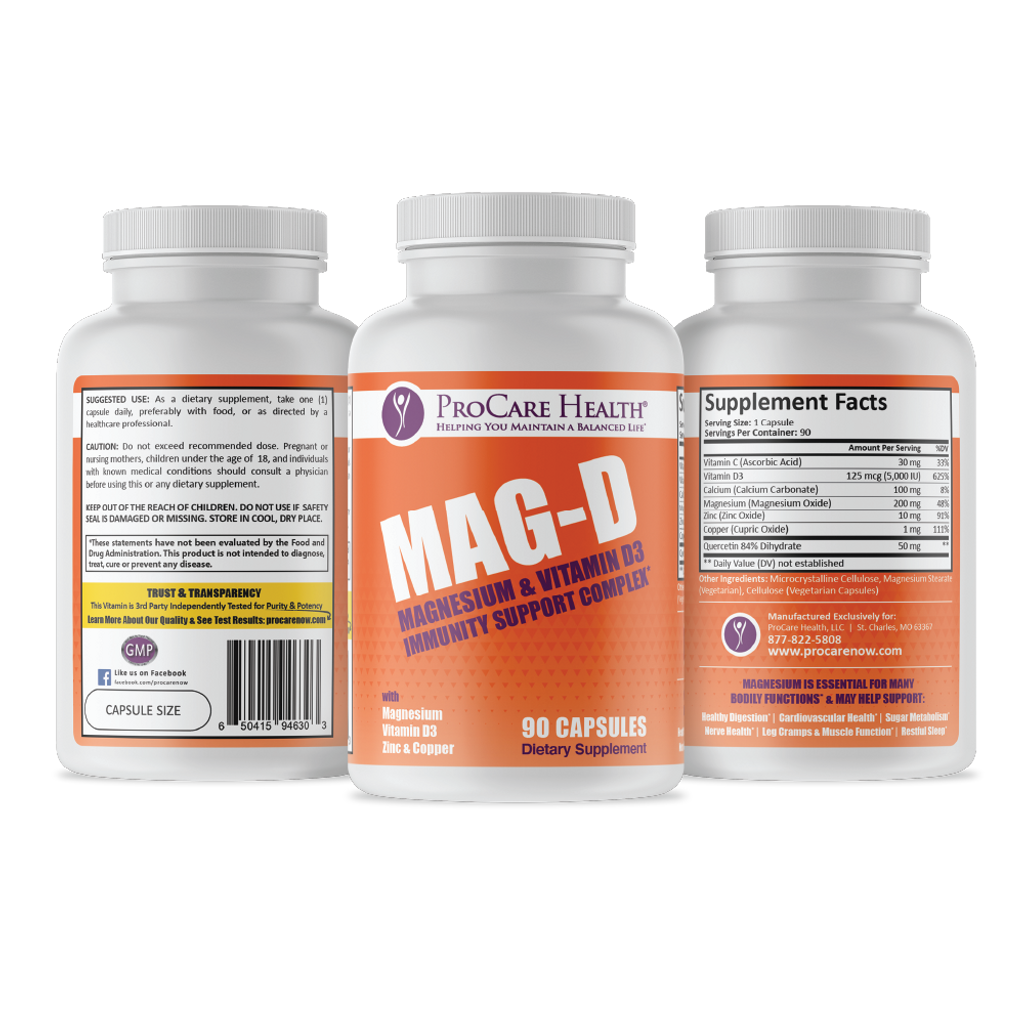 Mag-D | Immunity Support Complex | 90ct Capsule All Sides  Magnesium, Vitamin D3, Vitamin C, Zinc, Copper and Quercetin all work together to support your immune system .