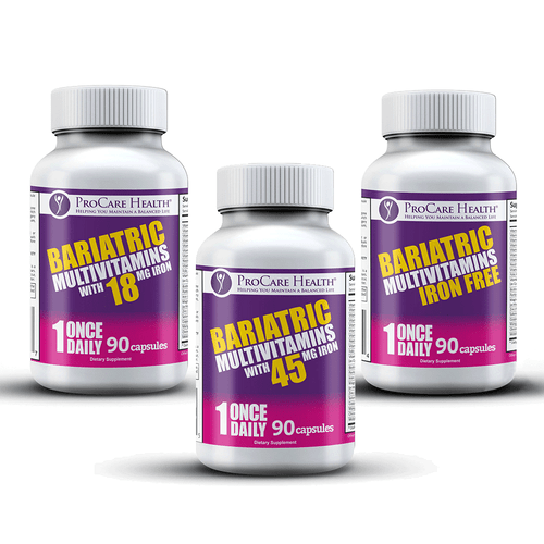 Once Daily Bariatric Multivitamin Capsule. Available in three levels of Iron: 45mg, 18mg and Iron Free.