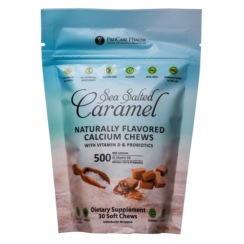 Sea Salted Calcium Caramel Soft Chew, 500mg of Calcium, 500 IU of Vitamin D and 500 million CFUs of Probiotic! The only all natural option on the market!
