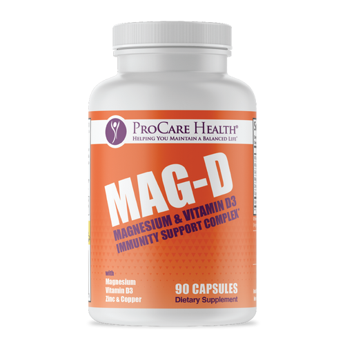 Mag-D | Immunity Support Complex | 90ct Capsule Front Panel.  Magnesium, Vitamin D3, Vitamin C, Zinc, Copper and Quercetin all work together to support your immune system .