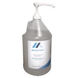 Mountain Peak Liquid Hand Sanitizer + Pump 80% Alcohol (1Gal/Jug) Made in USA