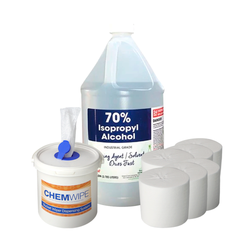 DIY Alcohol Wipes Kit: 70% Isopropyl Alcohol (1 Gallon, 6 Rolls of Dry Wipes),  - Cost Effective