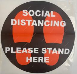 "Social Distancing Self Adhesive Floor Stickers (12"", 10/Pack)"