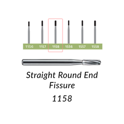 Carbide Burs. FG-1158 Straight Round End Fissure. 10 pcs.