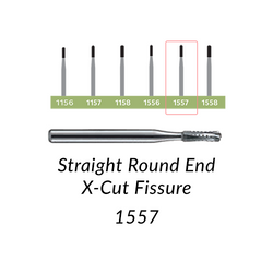 Carbide Burs. FG-1557 Straight Round End X-Cut Fissure. 10 pcs.