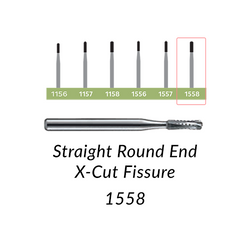 Carbide Burs. FG-1558 Straight Round End X-Cut Fissure. Clinic Pack of 100/bag.