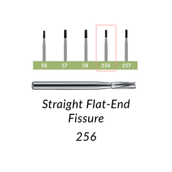 Carbide Burs. FG-256 Straight Flat-End Fissure. Clinic Pack of 100/bag