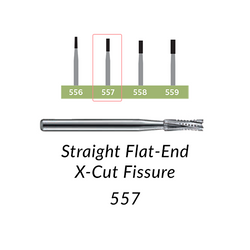 Carbide Burs. FG-557 Straight Flat-End X-Cut Fissure. Clinic Pack of 100/bag