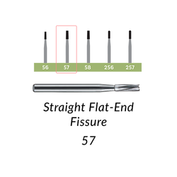 Carbide Burs. FG-57 Straight Flat-End Fissure. Clinic Pack of 100/bag