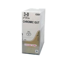 "Ethicon Sutures. Chromic Gut. 636H 3-0 FS-2 27"" 36/Box"