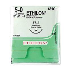 """Ethicon Sutures. 5/0, 18"""" Ethilon Black Nylon Suture. 12/Bx"""